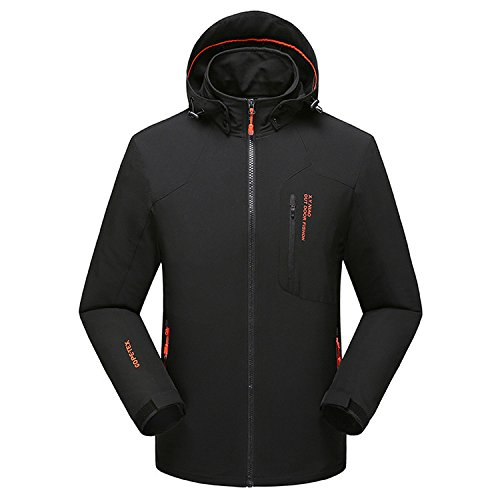 Mountain Conqueror Men Lightweight Jacket Coat Waterproof Fishing Hiking Jackets 95 Nylon Polyester  Men Outdoor Clothing Black Medium