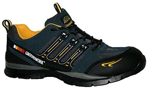 Sécurité Groundwork Embout Chaussures À Bleu Gr55 Marine jaune Homme Pour En Avec Acier De Lacets RtxfqRZwr