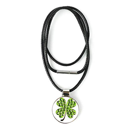 PINMEI Golf Ball Marker with Magnetic Necklace Lucky Clover Great Golf Gift for Women (Clover) ()