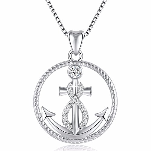 925 Sterling Silver Anchor and Infinity Nautical Symbol of Hope Vintage Pendant Necklace, Box Chain ()