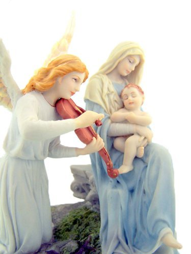 Angels Song Madonna with Christ Child 6 7/8 Inch Light Color Stone Resin Statue Religious (Veronese Collection)