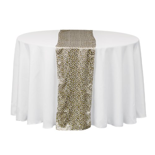 LinenTablecloth Satin Table Runner, 14 by 108-Inch, Leopard Print