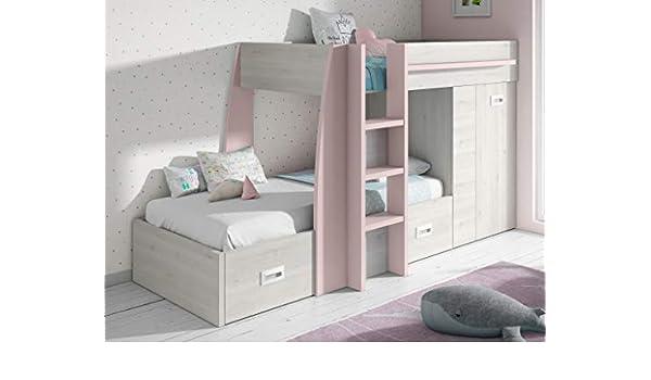 Miroytengo Cama litera Infantil Dormitorio diseño Original Forma Tren Color Rosa y Blanco con cajones y Armario 151x273x117 cm 90x190 cm: Amazon.es: Hogar