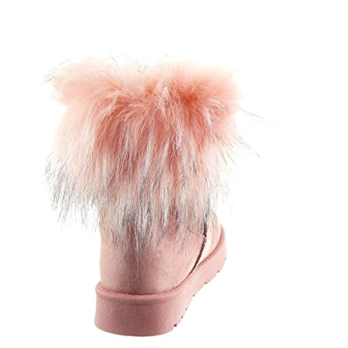 Angkorly - damen Schuhe Stiefeletten - Schneestiefel - Pelz Blockabsatz 3 CM Rosa