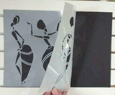 GiwuArt African Women Dancers Stencil Mylar A4 Sheet 190 Micron Strong Reusable Craft Art Wall Deco