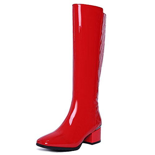 Nine Seven Genuine Leather Women's Square Toe Chunky Heel Zip Handmade Knee High Boot red-patent leather OxKjzW7