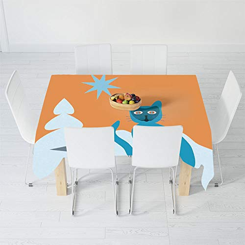 TecBillion Polyester Tablecloth,Psychedelic Decor,for Wedding Banquet Restaurant,40.2 X 20.1 Inch,Cat with Racoon Mask in Snow Scenery