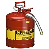 "Type II AccuFlow Steel Safety Can for flammables, 5 gal, S/S flame arrester, 1"" metal hose"