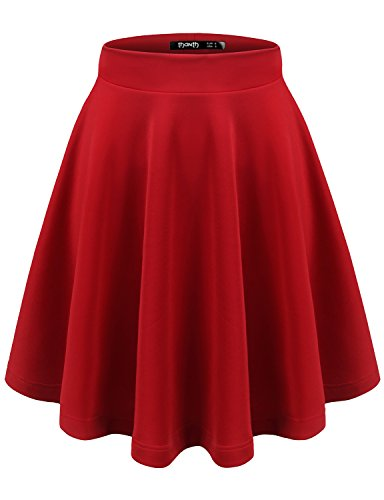 TWINTH Womens Basic Versatile Stretchy Flared Skater Skirt Red XXX-Large