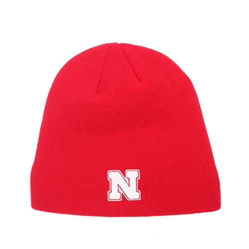 ZHATS Nebraska Cornhuskers Red Edge Skull Cap - NCAA Cuffless Winter Knit Beanie Toque Hat