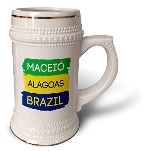 3dRose Alexis Design - Brazilian Cities - Maceio, Alagoas national colors patriot Brazil home town design - 22oz Stein Mug (stn_311939_1)