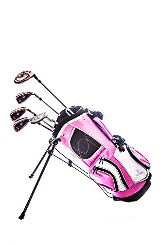 Sephlin - Lady E Girls 5 Pcs Right Hand Pink Golf Clubs Set & Golf Bag Ages 3-6 Rh (Pink_Black, Age 3 - 6 Yrs Old)