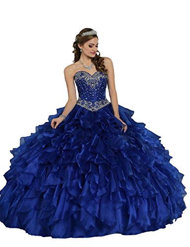 TaYan Women's Prom Ball Gowns Beaded Sweet 16 Long Quinceanera Dresses 2 US Royal (Quinceanera Prom Gowns)