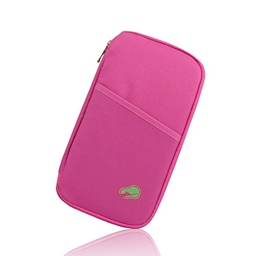 Zadaro Multi-Functional Fashion Travel Trip Ticket Passport Credit ID Card Cash Organizer Wallet Purse Holder Case Document Bag (Hot Pink)