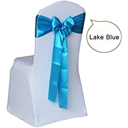 100pcs/lot Wedding Chair Cover Sashes Bow for Wedding Tie Ribbon Decoration Party Supplies - Lake Blue