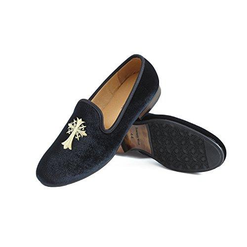 Mocasines De Negro Hombres Zapatos Terciopelo Cruz Bordado Los rojo azul Negro xwqfTn77