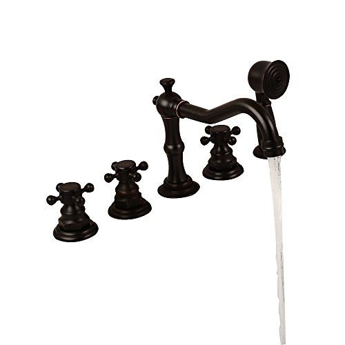 Triple Tub Handle Brass (Lovedima Classic Antique Black 5-Hole Roman Tub Faucet with Hand Shower, Triple Cross Handles)
