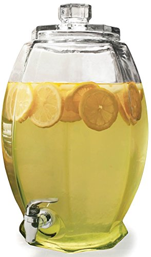 Circleware 66903/R Cranston Beverage Dispenser with Glass Lid, Sun Tea Jar with Spigot Entertainment Kitchen Glassware Water Pitcher for Juice, Wine, Kombucha and Cold Drinks, 3 gallon, Clear ()