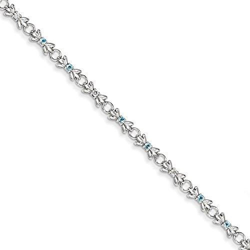 Bracelet en Argent Sterling avec Topaze Bleu et diamants