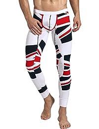 Neleus Men's Compression Thermal Base Layer Stripe Long John Legging