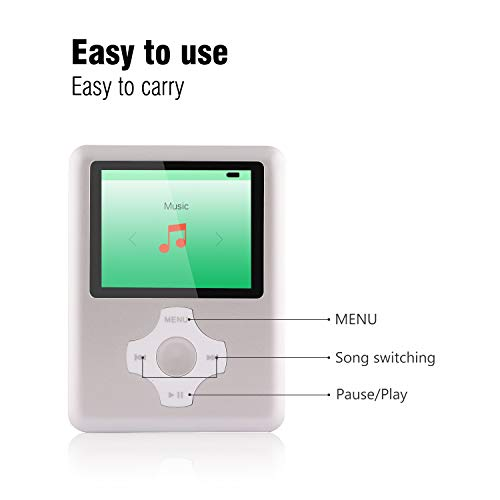 Ultrave MP3/MP4 Player with 16G SD Card, Portable Lossless Sound Player, Rechargeable MP3 Player, Support Ebook, Image Viewing MP3 Music Player -Silver07