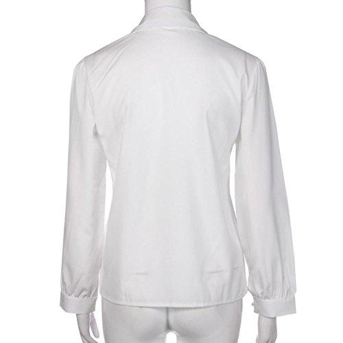 AMUSTER Moda Donna Casuale Solido Maniche Lunghe Camicetta Bavero Camicia Cime Camicetta