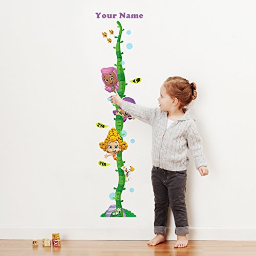 Bubble Guppies Girls Personalized Growth Chart Wall Decal for Nursery, Kids Room -