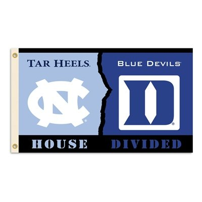 North Carolina/Duke- 3 Ft. x 5 Ft. Flag w/ Grommets - Rivalry House Divided Duke House Divided