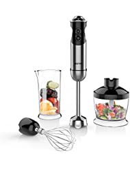 BESTEK Imersion Blender 350 W 5 Speed 4-in-1 Hand Blender Smart Stick with Food Processor, Whisk, Beaker and 2 Stainless Steel Blades for Smoothies Baby Food Yogurt Sauces Soups