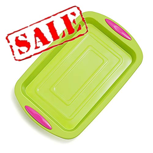 KeepingcooX Rectangular Cookie Baking Sheet/Jelly Roll Pan Set Nonstick - Non-Stick Silicone Commercial Brownie Pan With Handles, 10.83 x 7.28 x 1.18 In