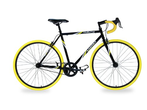 Takara Kabuto Single Speed Road Bike, 700c, Black/Yellow, Large/57cm Frame