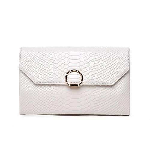 LVCSIUE Bolso de noche de cuero genuino de señora Clutches Day Lady Clutches Blanco