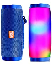 LGXJP Portable Speakers Bluetooth Column Wireless Bluetooth Speaker Powerful High Outdoor Bass with LED Light Exquisite craftsmanship, high quality sound (Color : Blue with light)