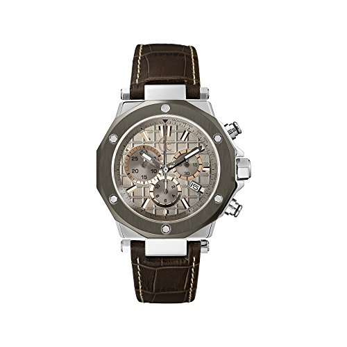 Guess Collection X72026G1S 44mm Stainless Steel Case Brown Calfskin Synthetic Sapphire Men's Watch