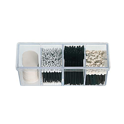 4-Compartment Makeup Organizer and Storage Transparent Multi-Functional Bathroom Closet Storage with 4 Trays and Clear Lid for Cosmetics, Cotton Balls or Sponges