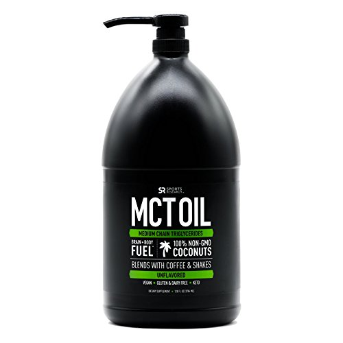 Premium MCT Oil Derived only from Coconut Oil - 128oz 'XL' Bottle with Pump | The only MCT Oil Certified Paleo Safe and Registered by The Vegan Society. Non-GMO and (Lauric Acid Coconut)
