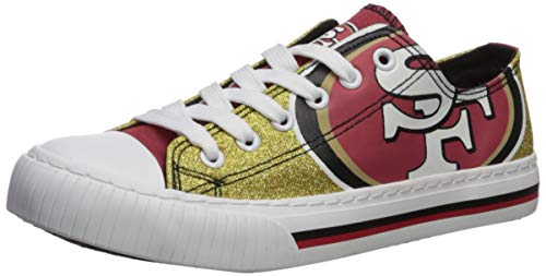 FOCO NFL San Francisco 49Ers Womens Glitter Low Top Canvas Shoesglitter Low Top Canvas Shoes, Team Color, 8/Large