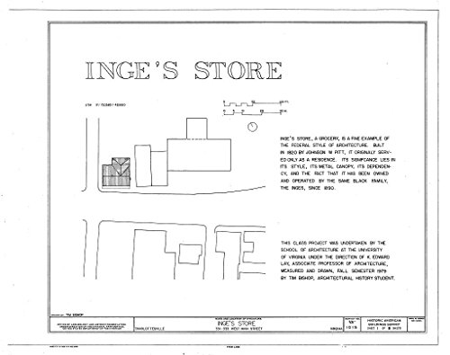 Historic Pictoric Blueprint Diagram HABS VA,2-Char,15- (Sheet 1 of 8) - Inge's Store, 331-333 Main Street, Charlottesville, Charlottesville, VA 44in x 32in (Va In Charlottesville Stores)