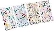 Houlife 4/8 PCs 100% 42S Cotton Floral Printed Handkerchief Elegant Hankies for Women Ladies Girls Wedding Par