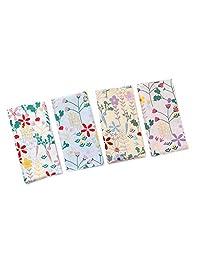 Houlife 4/8 PCs 100% 42S Cotton Floral Printed Handkerchief Elegant Hankies for Women Ladies Girls Wedding Party, 13.4×13.4''