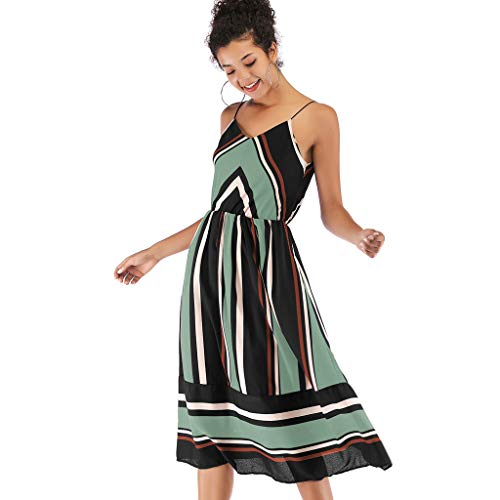 WoCoo Boho Stripe Chiffon Sling Cocktail Bridesmaid Evening Party Gown Ball Prom Long Maxi Swing Dress for -