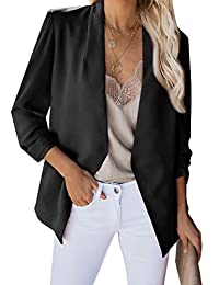 ADEWEL Womens Casual 3/4 Sleeve Ruched Blazer Open Front Work Office Cardigan Suit Jacket