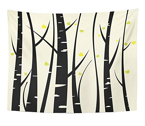 Emvency Tapestry Artwork Wall Hanging Orange Tree Birch Three for You Design Aspen Grove Branch Leaf Silhouette Bark 60x80 Inches Tapestries Mattress Tablecloth Curtain Home Decor Print]()