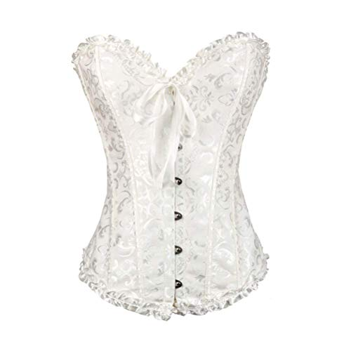 stay real Womens Floral Lace Trim Corset Overbust Waist Cincher Bustier Plus Size (White #1,Medium) ()