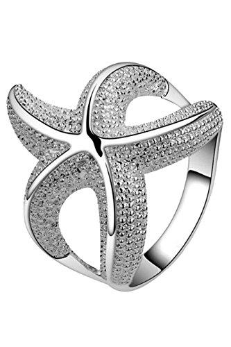 Anneau d¡¯etoile de mer - SODIAL(R)Anneau d¡¯etoile de mer argente delicate bijoux cadeau pour femme fille -US 8