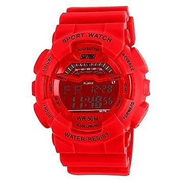 Lemumu Aa1012 Reloj digital resistente al agua 5ATM Relojes Hombre Deportes reloj con alarma de calendario retroiluminación Semana Cronómetro,rojo: ...