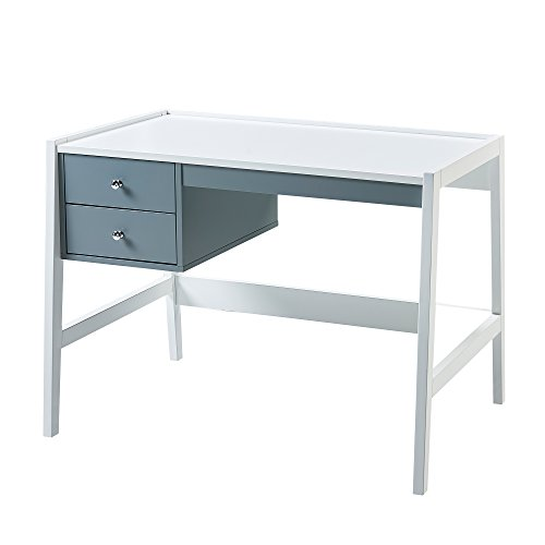 (Versanora VNF-00009 Space Saver Modern & Stylish Minimalista Single Desk-White/Grey)