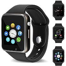 Smart Watch - 321OU Touch Screen Bluetooth Smart Wrist Watch Smartwatch Phone Fitness Tracker SIM SD Card Slot Camera Pedometer Compatible iPhone iOS Samsung LG Android Women Men Kids (Black)