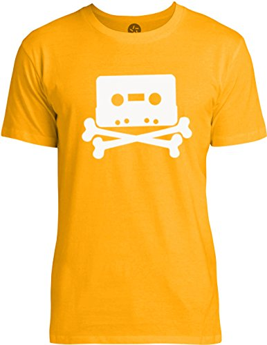 Big Texas The Pirate Bay Tape n Crossbones (White) Mens Fine Jersey T-Shirt, Gold, (Pirate Bay Tape)