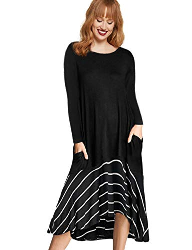906c16589f79 AMZ PLUS Womens Plus Size Short & Long Sleeve Casual Swing Tunic Dress